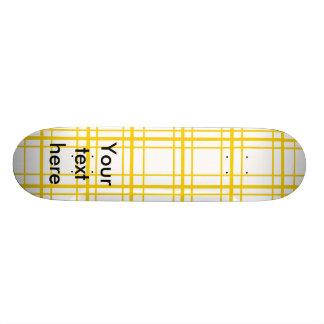 Retro yellow plaid on white background skateboard deck