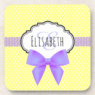 Retro yellow polka dot purple bow girl name beverage coasters