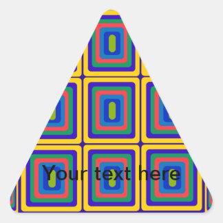 Retro yellow purple and green squares triangle sticker