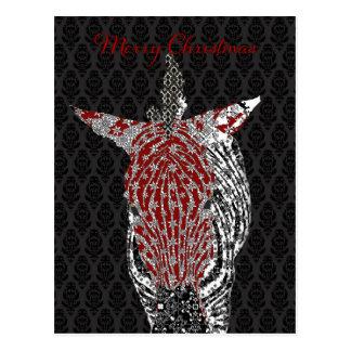 Retro Zebra Postcard Black Christmas