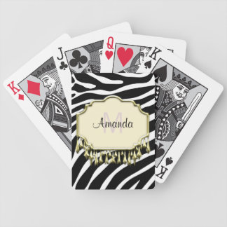 Retro Zebra Skin With Gold Bling Bicycle Playing Cards