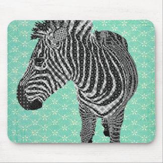 Retro Zebra Turqoise Mousepad