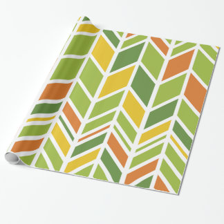 "Retro Zig-Zag Orange Green Wrapping Paper 30"" x 6'"