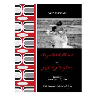 Retro Zig Zag Pattern Modern Save The Date Photo Postcard