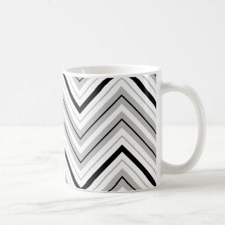 Retro Zigzag Pattern Grey Black White Coffee Mug