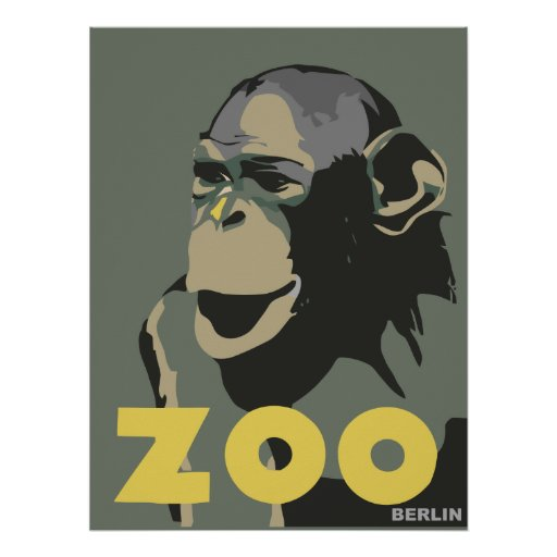 Retro Zoo Berlin monkey travel advertising Posters
