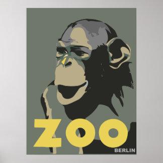Retro Zoo Berlin monkey travel advertising Posters