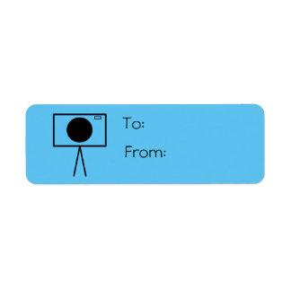 RetroCam gift tag label (light blue) Return Address Label
