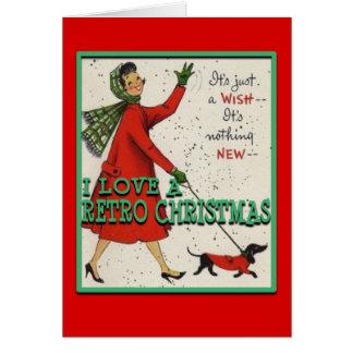 RetroChristmasLady&Dog-Greeting Card