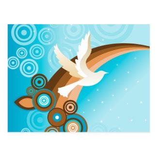 RetroFit Dove Flying on Blue Sky Postcard