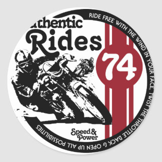 RetroGasRacer3A.png Classic Round Sticker