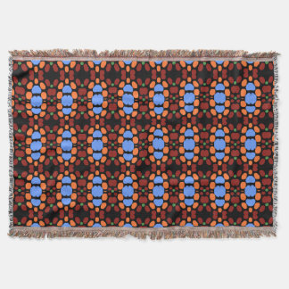 RetroTurquoise & Orange Spotted Throw Blanket