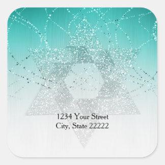 Return Address Aqua Green Glittery Star of David Square Sticker