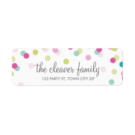 RETURN ADDRESS confetti polka dot colourful fun Return Address Label