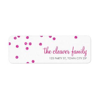 RETURN ADDRESS confetti spot hot pink glitter Return Address Label
