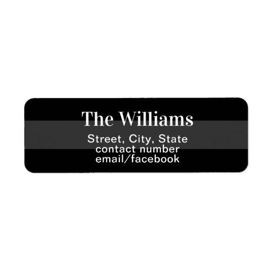 return address contact information black/grey return address label
