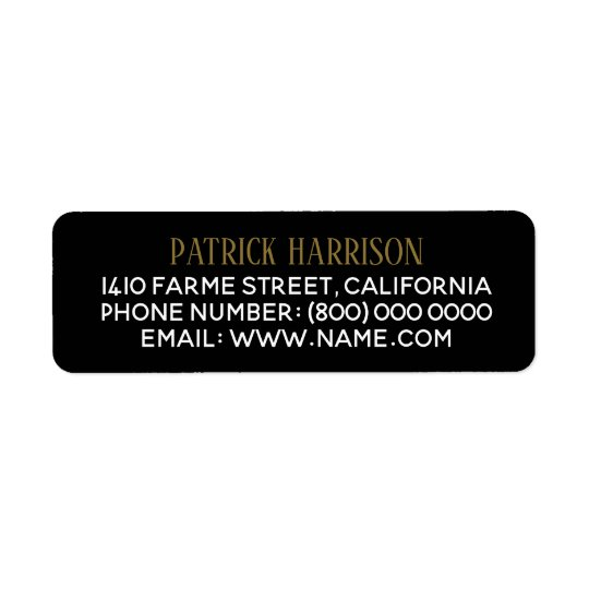 return address contact information on black return address label