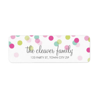 RETURN ADDRESS cute confetti polka dot colorful Return Address Label