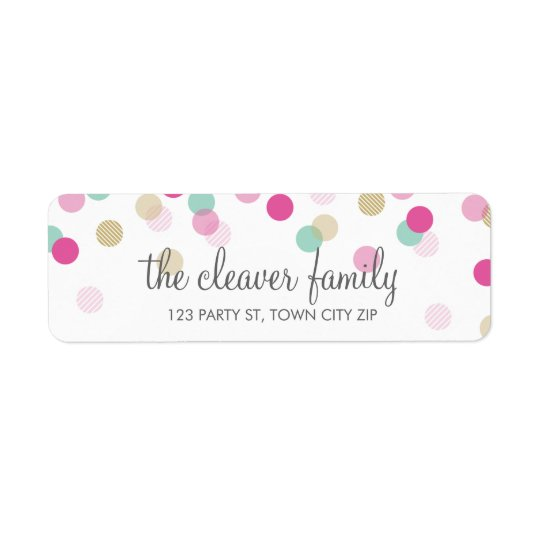 RETURN ADDRESS cute confetti polka dot colourful Return Address Label