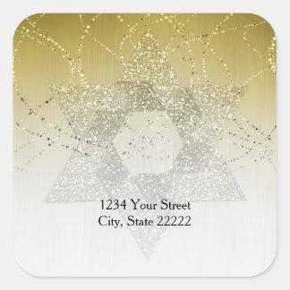 Return Address Gold Glittery Star of David Square Sticker