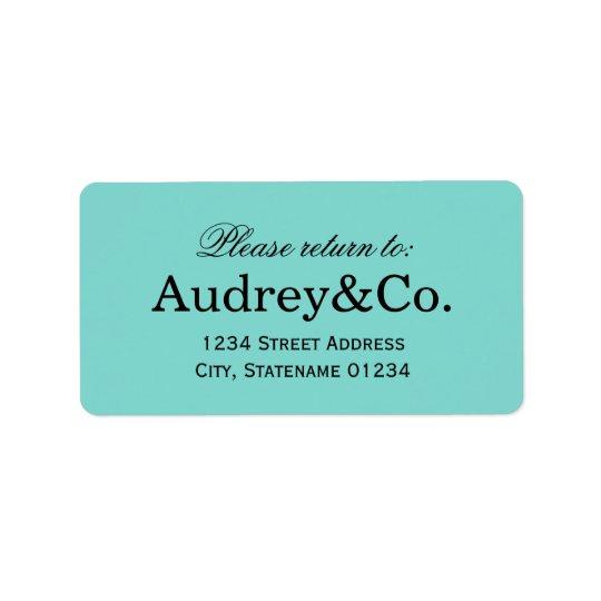 Return Address Label   Aqua Blue