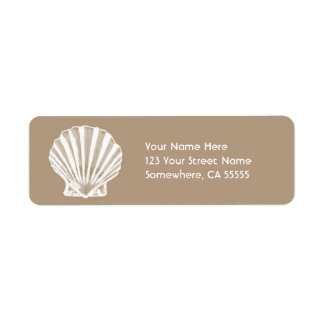 Return Address Label//Beige Sand Sea Shell Return Address Label