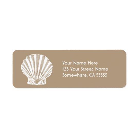 Return Address Label//Beige Sand Sea Shell Return Address Label