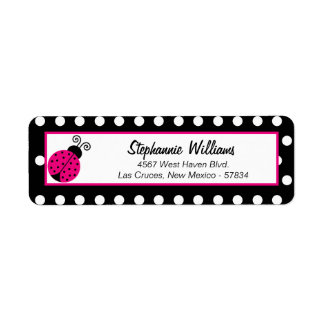 Return Address Label Black Spring Time Lady Bug