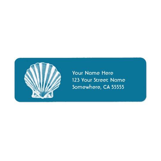 Return Address Label//Blue Sea Shell Return Address Label