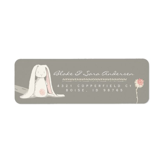 RETURN ADDRESS LABEL | Floral Girl Bunny Baptism
