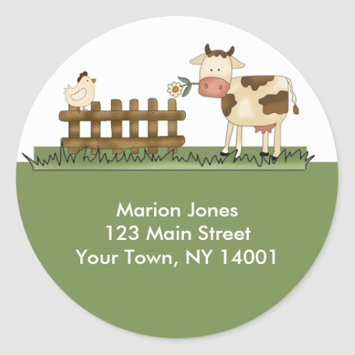 Return Address Label Home Sweet Farm Envelope seal Round Sticker