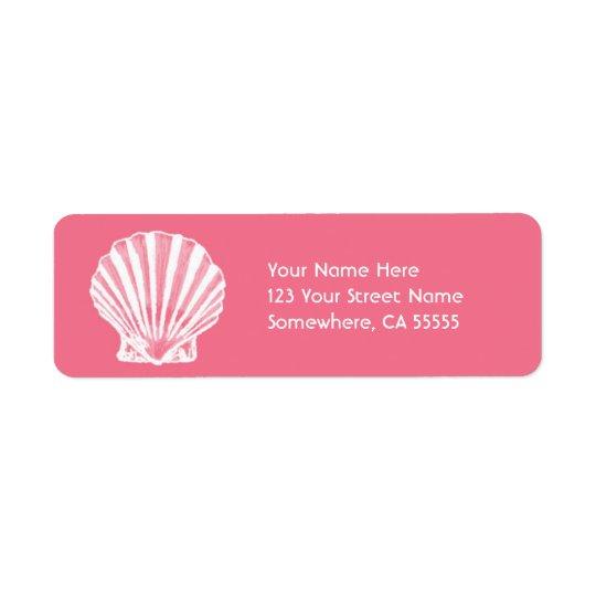 Return Address Label//Pink Sea Shell Return Address Label