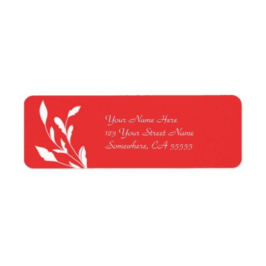 Return Address Label//Poppy Red Flourish Return Address Label