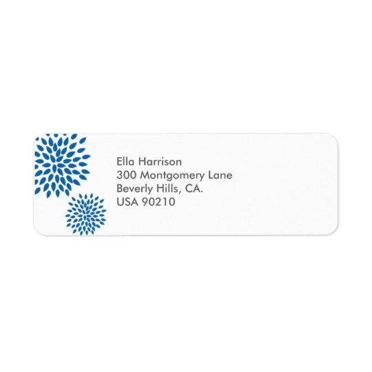 Return Address Label // Posh Petals // Cerulean