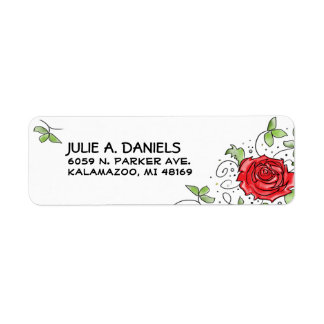 Return Address Label - Red Rose with Leaves