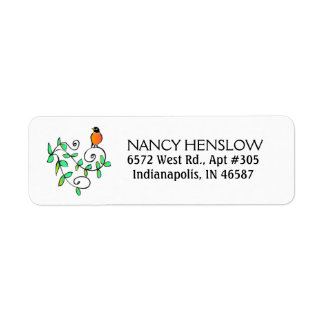 Return Address Label - Robin Bird - Leaves Design