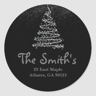 Return Address Label Silver Holiday/Christmas Tree Round Sticker