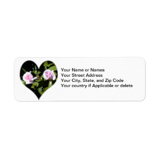 Return Address Label, Twin Pink Roses Inside Heart Return Address Label
