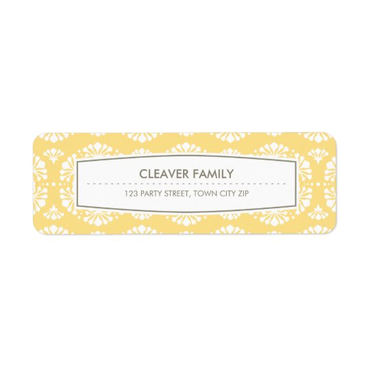 RETURN ADDRESS LABEL vintage floral pattern yellow