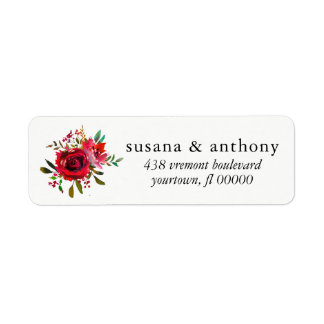 Return Address Label Wedding Bouquet Rose Watercol