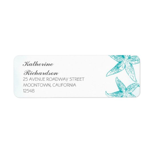 return address label with blue starfish couple