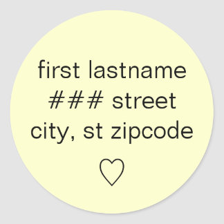return address label with heart - personalize info round sticker