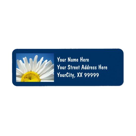 Return Address Labels Blue Sky White Daisy Floral