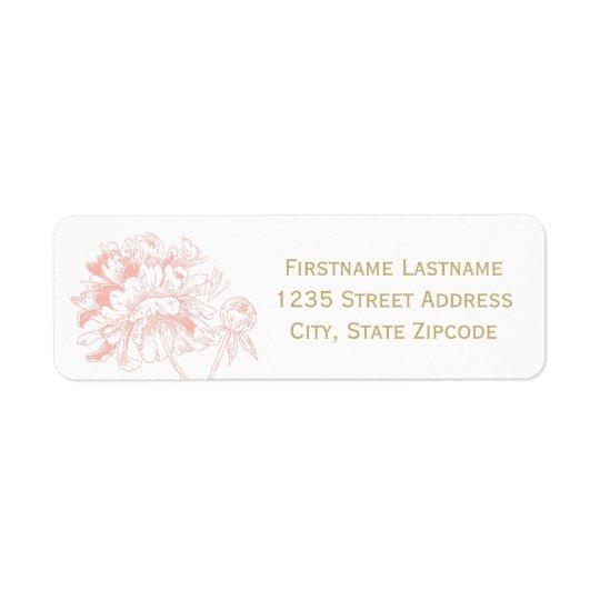 Return Address Labels   Coral Peony Design