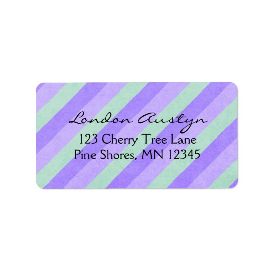 Return Address Labels │ Diagonal Stripes Purple