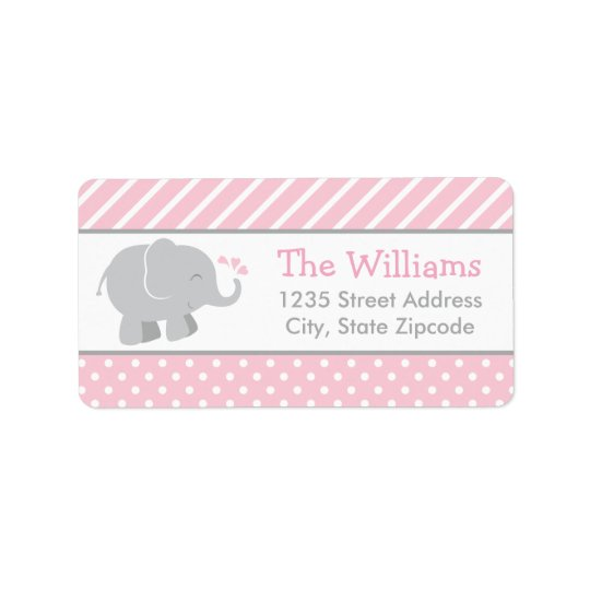 Return Address Labels | Elephant Pink and Grey