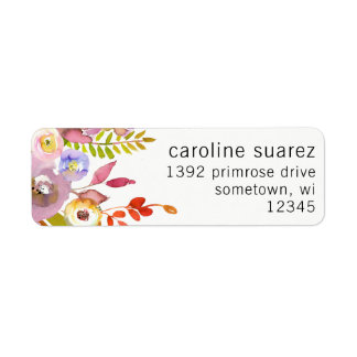 Return Address Labels Floral Rose Leaf Wreath