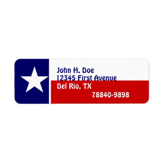 Return Address Labels Texas Lone Star Flag State