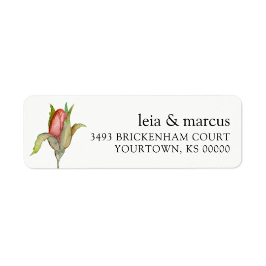 Return Address Labels Wedding Watercolor Rose Bud