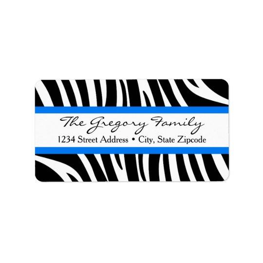 Return Address Labels │ Zebra Print Cobalt Blue